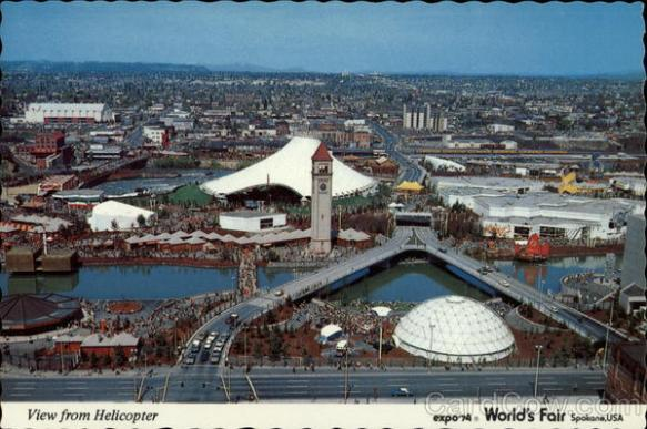 View from helicopter, Expo '74 World's Fair Spokane