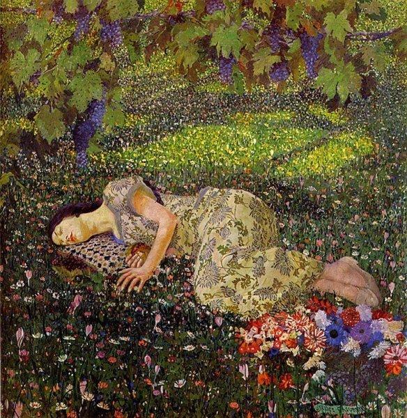 Felice-Casorati.-Dreaming-of-Pomegranates-1912