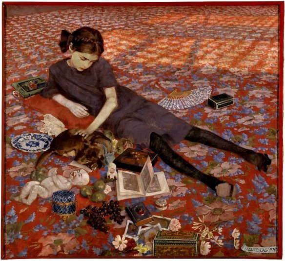 felice-casorati-girl-on-a-red-carpet-1912